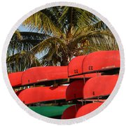 Canoe's At Flamingo Round Beach Towel