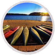 Canoes At Sunset Round Beach Towel