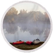 Canoes By A Foggy Lake In Autumn Round Beach Towel