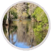 Canoing On Hillsborough River Round Beach Towel