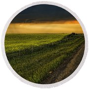 Canola And The Road Ahead Round Beach Towel