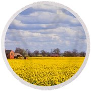 Canola Field Round Beach Towel