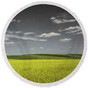 Canola Hills And Dales Round Beach Towel