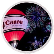 Canon - See Impossible - Hot Air Balloon With Fireworks Round Beach Towel