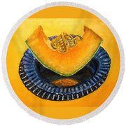 Cantaloupe Oil Painting Round Beach Towel