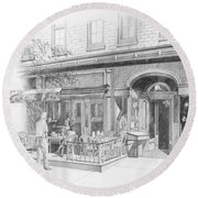 Cantina Restaurant In Saratoga Springs Ny Storefront Round Beach Towel