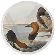 Canvas Backed Duck Round Beach Towel