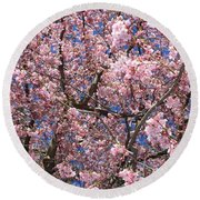 Canvas Of Pink Blossoms Round Beach Towel