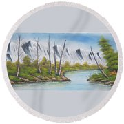 Winter Season - Mountains Round Beach Towel