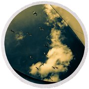 Canvas Seagulls Round Beach Towel