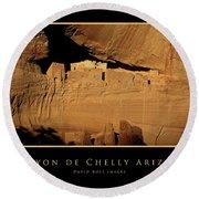 Canyon De Chelly Arizona Black Border Round Beach Towel