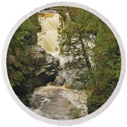 Canyon Falls 2 Round Beach Towel