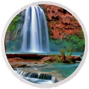Canyon Falls Round Beach Towel by Scott Mahon