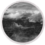 Canyon In Clouds Bw Round Beach Towel