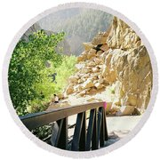 Canyon Rocks Vertical Round Beach Towel