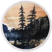 Canyon Trees, Watercolor Round Beach Towel