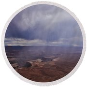 Canyonlands Rain On The Green River Round Beach Towel