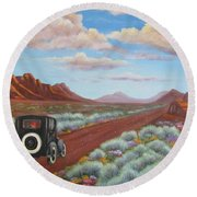 Rough Ride Through The Canyonlands Round Beach Towel