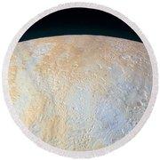 Canyons Around Plutos North Pole Round Beach Towel