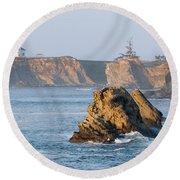 Cape Arago Lighthouse Round Beach Towel