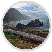 Cape Arago Oregon Round Beach Towel