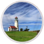 Cape Blanco Lighthouse Above The Rope Round Beach Towel