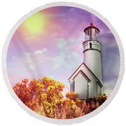 Cape Blanco Lighthouse In Oregon Round Beach Towel