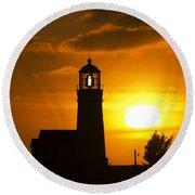 Cape Blanco Lighthouse Sunset 2 Round Beach Towel