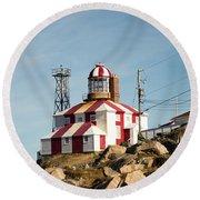 Cape Bonavista Lighthouse, Newfoundland, Canada Old And New Lamp Round Beach Towel