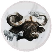 Cape Buffalo Round Beach Towel