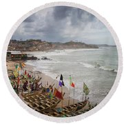 Cape Coast Fishing Village Round Beach Towel