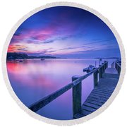Cape Cod Art Sunrise On Pleasant Bay In July Round Beach Towel