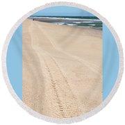 Cape Cod Beach With Tire Tracks Round Beach Towel