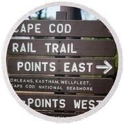 Cape Cod Rail Trail Sign Eastham Round Beach Towel