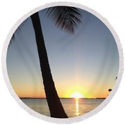 Cape Coral Winter Sunset  Round Beach Towel