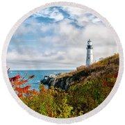 Cape Elizabeth Maine - Portland Head Lighthouse Round Beach Towel