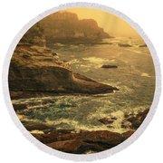 Cape Flattery Misty Morning - Washington Round Beach Towel