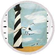 Cape Hatteras Lighthouse - Fish Border Round Beach Towel