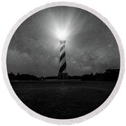 Cape Hatteras Light And The Milky Way Galaxy Round Beach Towel