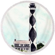 Cape Lookout Lighthouse Outer Banks North Carolina Round Beach Towel