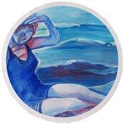 Cape May 1920s Girl Round Beach Towel