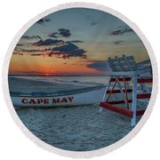 Cape May At Sunrise - Cape May New Jersey Round Beach Towel