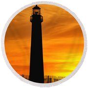 Cape May Light Sunset Round Beach Towel
