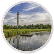 Cape May Lighthouse From The Pond Round Beach Towel