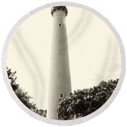 Cape May Lighthouse In Sepia Round Beach Towel