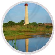 Cape May Morning Reflection Round Beach Towel