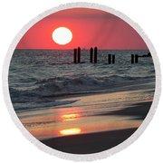 Cape May Nj Sunset, Philadelphia Beach Round Beach Towel