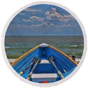 Cape May N J Rescue Boat 2 Round Beach Towel