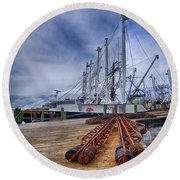 Cape May Scallop Fishing Boat Round Beach Towel