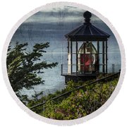Cape Meares Lighthouse Round Beach Towel
